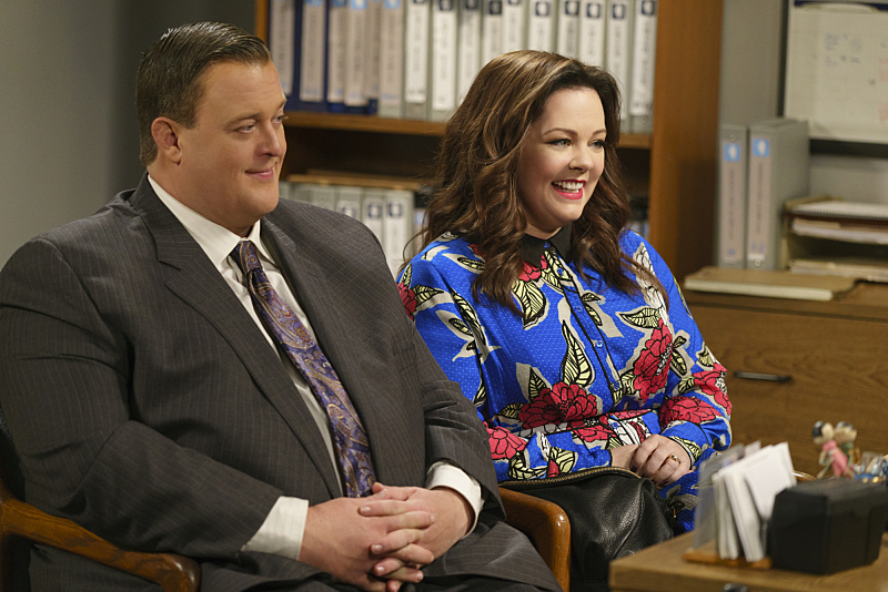 """The Adoption Option"" -- Mike and Molly need everyone to be on their best behavior when the adoption agency schedules a home visit, on MIKE & MOLLY, Monday, May 9 (8:30-9:00 PM, ET/PT) on the CBS Television Network. Pictured L-R: Billy Gardell as Mike Biggs and Melissa McCarthy as Molly Flynn Photo: Hopper Stone/CBS ©2015 CBS Broadcasting, Inc. All Rights Reserved"